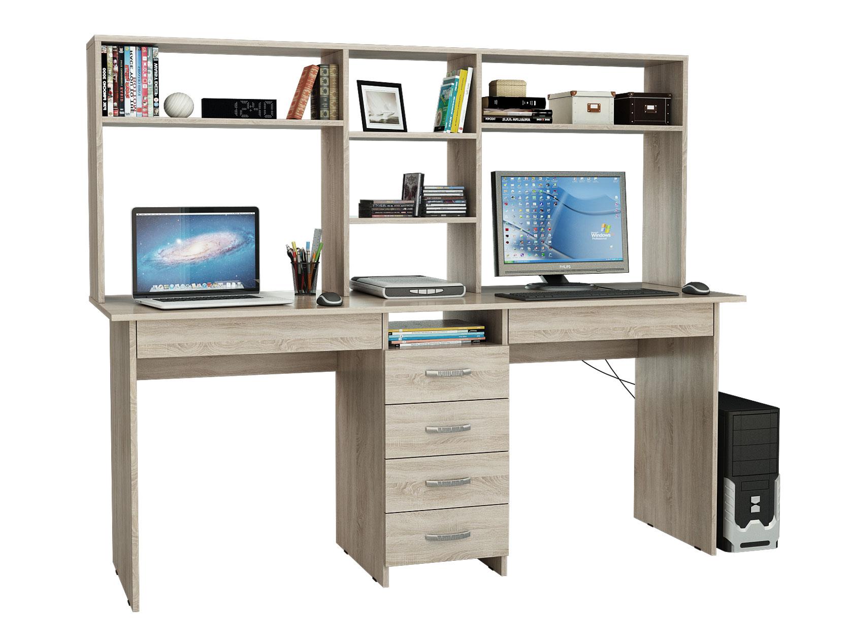 Компьютерный стол МФ Мастер Тандем-2Я 174,8x60x141,8, дуб сонома