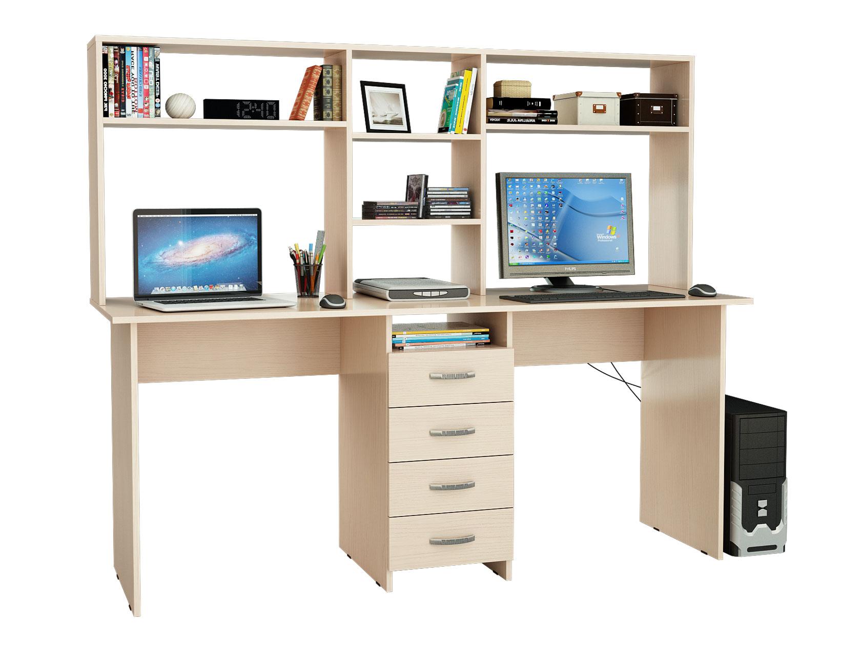 Компьютерный стол МФ Мастер Тандем-2 174,8x60x141,8, дуб молочный