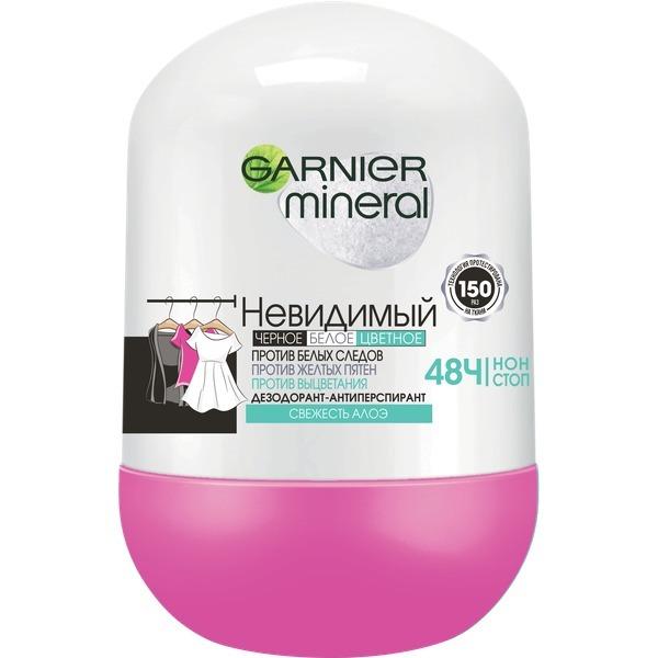 Купить Дезодорант-антиперспирант Garnier Mineral, Алоэ с активными минералами 50 мл, дезодорант-антиперспирант 'Mineral, Невидимый Свежесть Алоэ' с активными минералами, защита 48 часов, ролик, для женщин, 50 мл