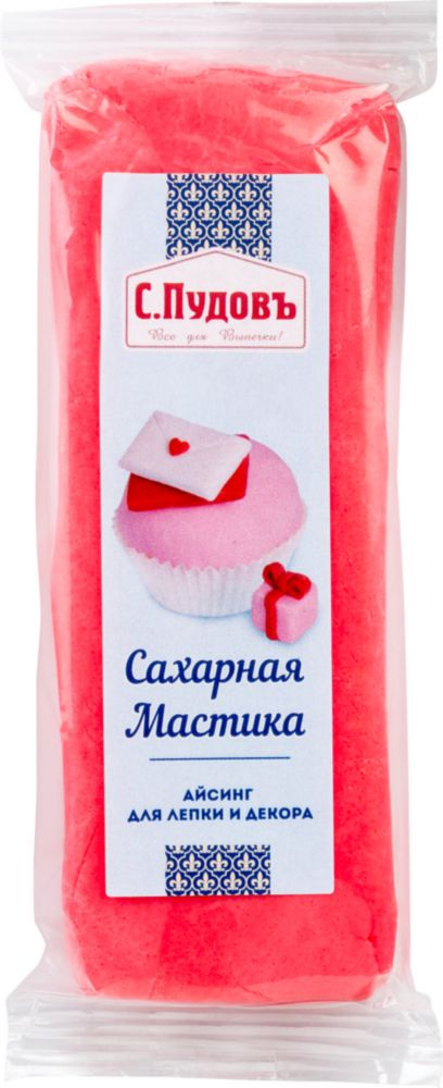 Сахарная мастика С.Пудовъ розовая 100 г фото