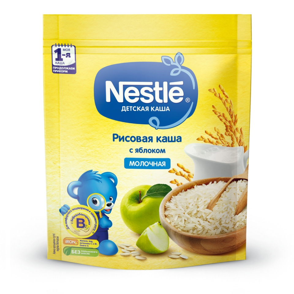 Каша молочная Nestle Рисовая с яблоком с 4 мес. 220 г фото