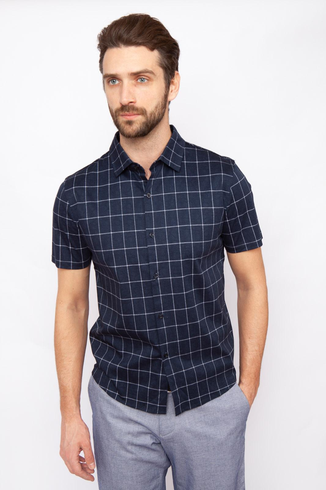 Рубашка мужская Kanzler 19S-PBDW03SS-T/30 синяя S