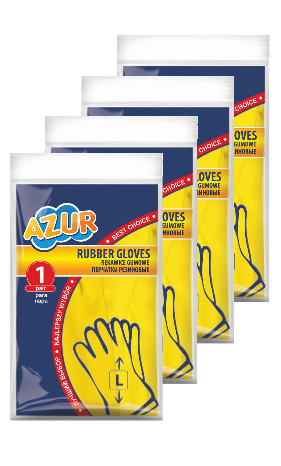 Перчатки York Azur резиновые L 4 шт
