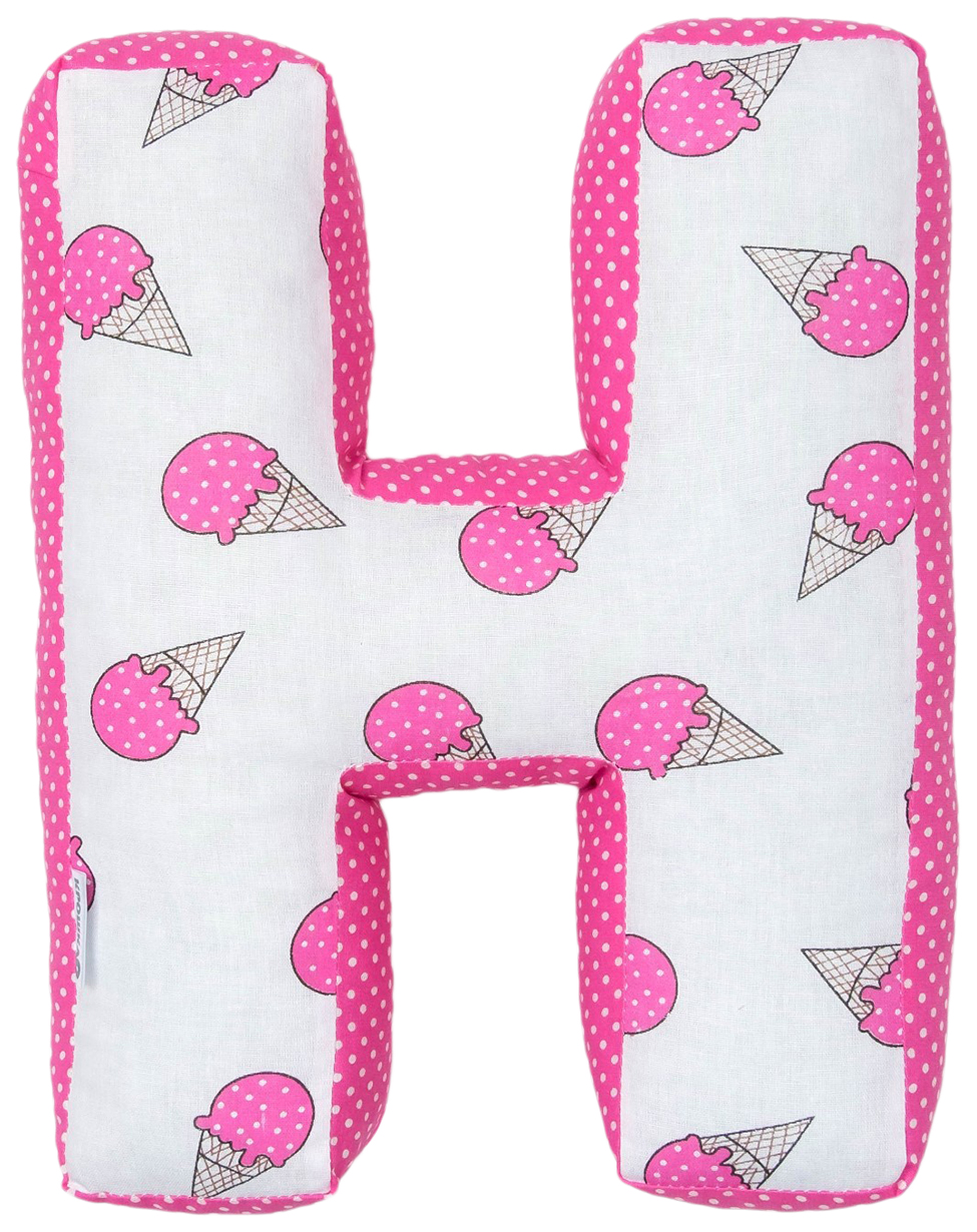 "Мягкая буква подушка ""Н"" 35х31 см, розовый, 100% хлопок, холлофайбер Крошка Я"