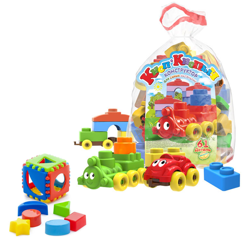 Купить Развивающие игрушки Karolina Toys Кубик логический малый+Конструктор Кноп-Кнопыч, 61 дет.,
