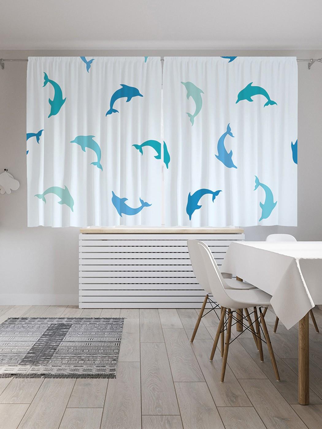 Шторы под лён «Дельфины кружатся», серия Oxford DeLux, 290х180 см