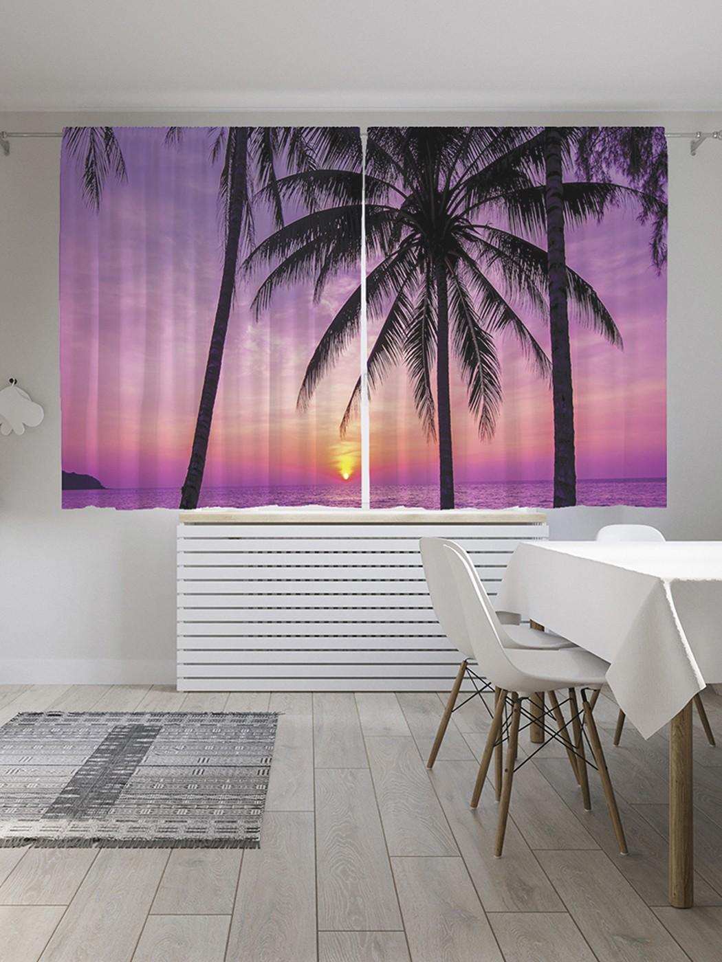 Шторы под лён «Закат на пляже под пальмами», серия Oxford DeLux, 290х180 см