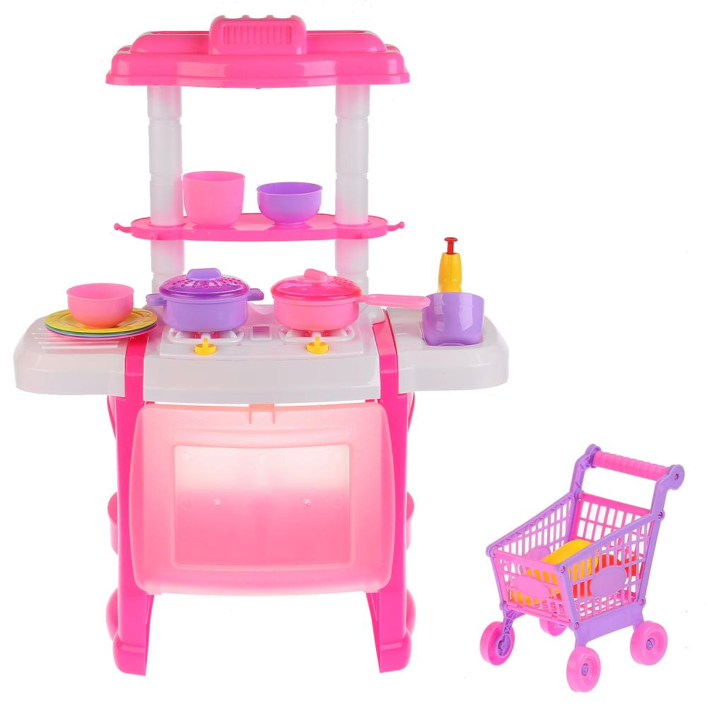 Купить Игровой набор Shantou Кухня с тележкой со звук. и свет. эффектами, цв. розовый, Shantou Gepai, Детская кухня