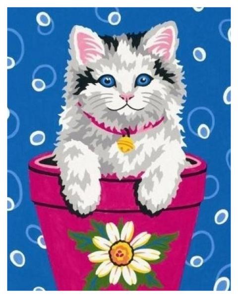 Картина по номерам DIMENSIONS Котенок в цветочном горшке DМS-91367 20x25 см