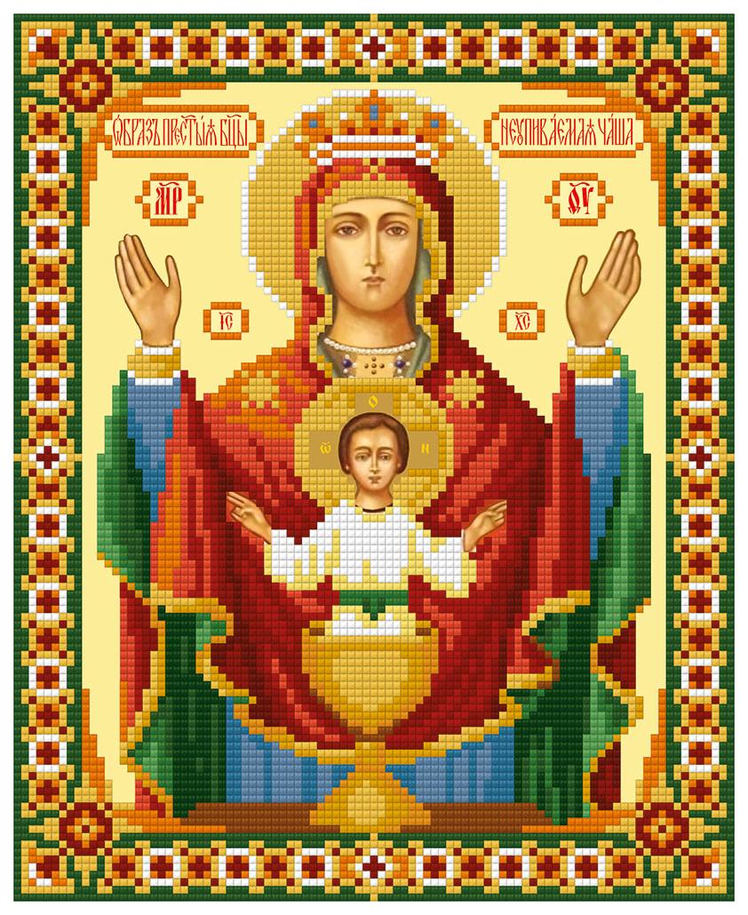 Алмазная живопись ФРЕЯ Икона Божией Матери Неупиваемая Чаша ALVR-161 22x27 см