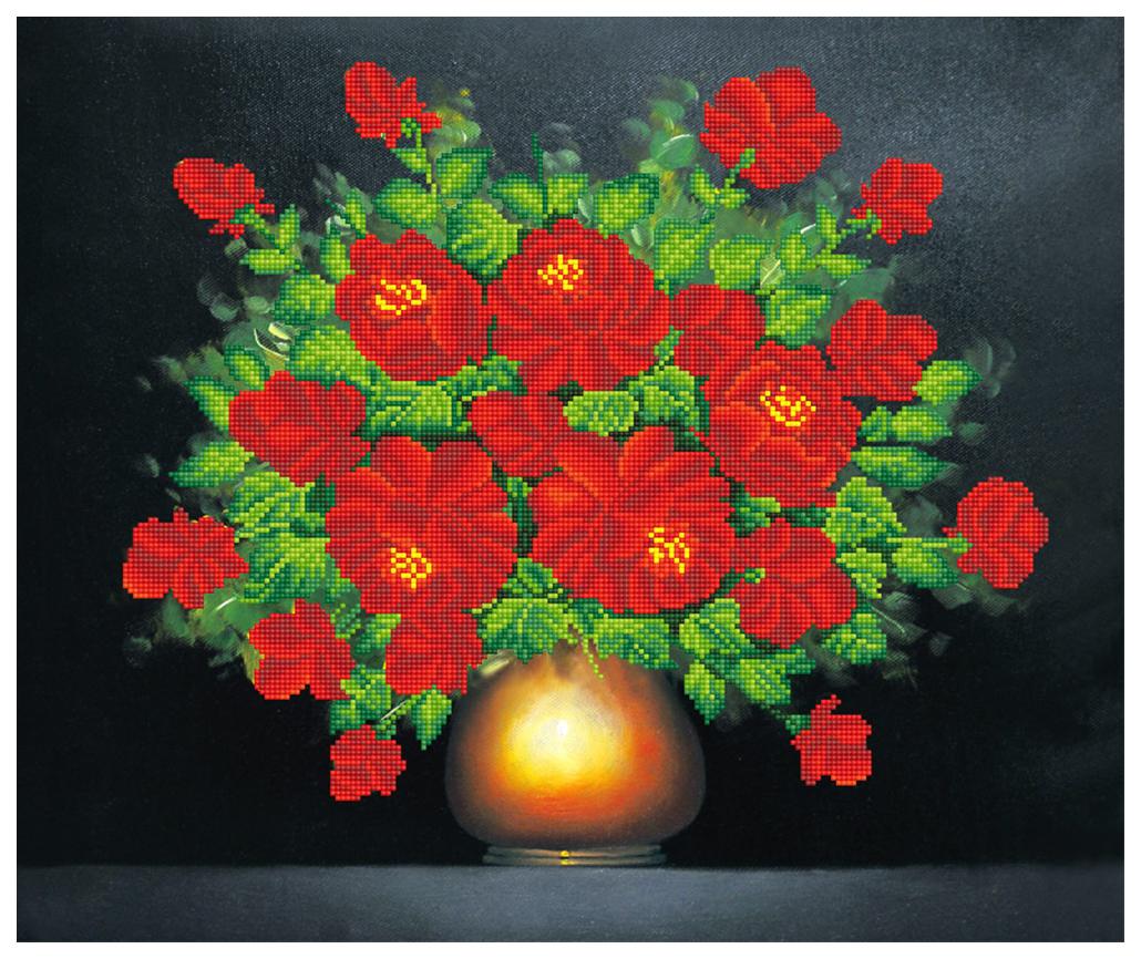 Алмазная живопись ФРЕЯ Букет алых роз ALV-36 52x62 см