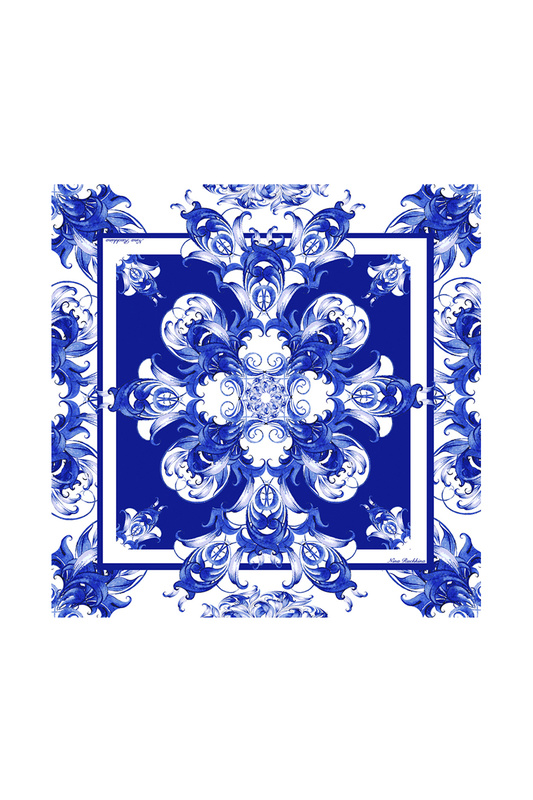 Платок женский РУССКИЕ В МОДЕ Гжель 0101 синий