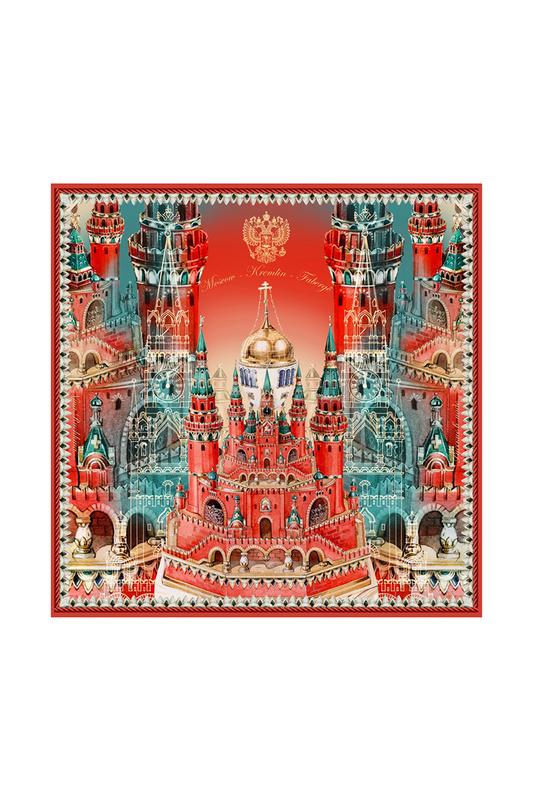 Платок женский РУССКИЕ В МОДЕ Москва-Кремль-Фаберже 0127 красный