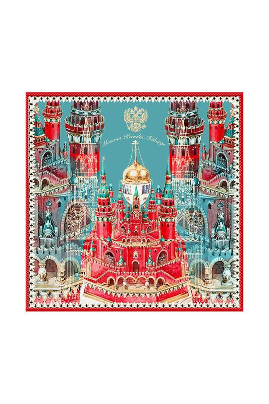 Платок женский РУССКИЕ В МОДЕ Москва-Кремль-Фаберже 0028 красный