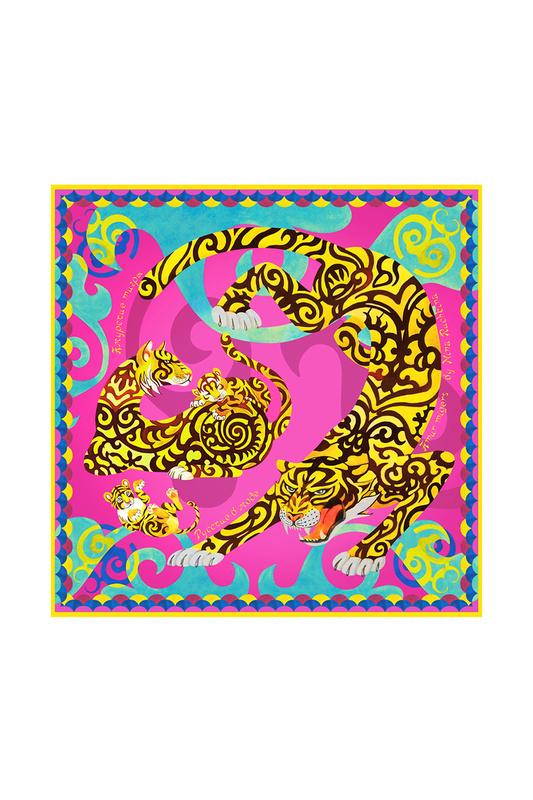 Платок женский РУССКИЕ В МОДЕ Амурский тигр 0133 малиновый