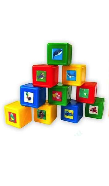 Купить Кубики Обитатели воды и неба (12 деталей) от 1 года 8028 Волшебный городок, Развивающие кубики