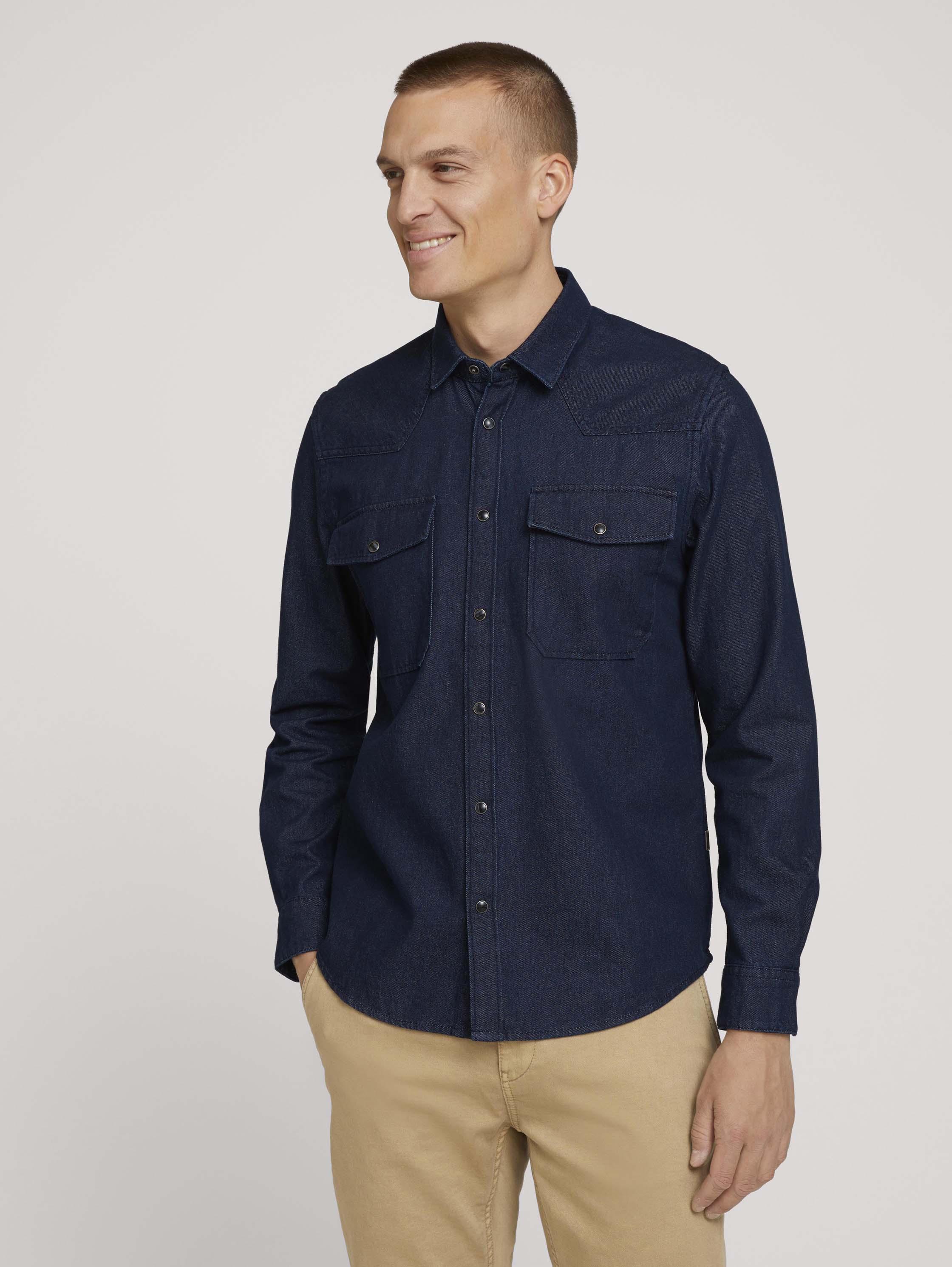 Джинсовая рубашка мужская TOM TAILOR 1026867 синяя XL