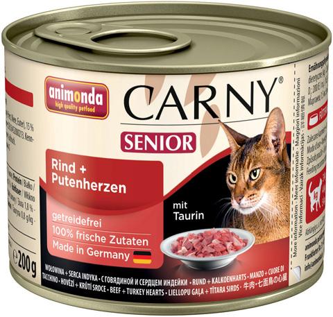 Консервы для кошек Animonda Carny Senior, с говядиной и сердцем индейки, 6шт по 200г