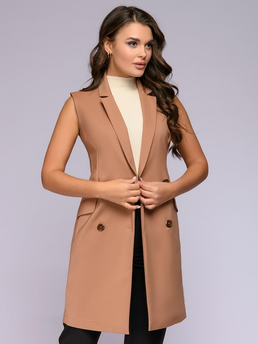 Жилет женский 1001dress 0122014-01760SD коричневый 48 RU