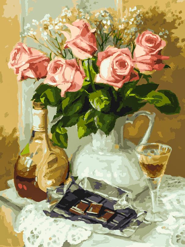 Раскраски по номерам 30*40 см Розы и шоколад Белоснежка