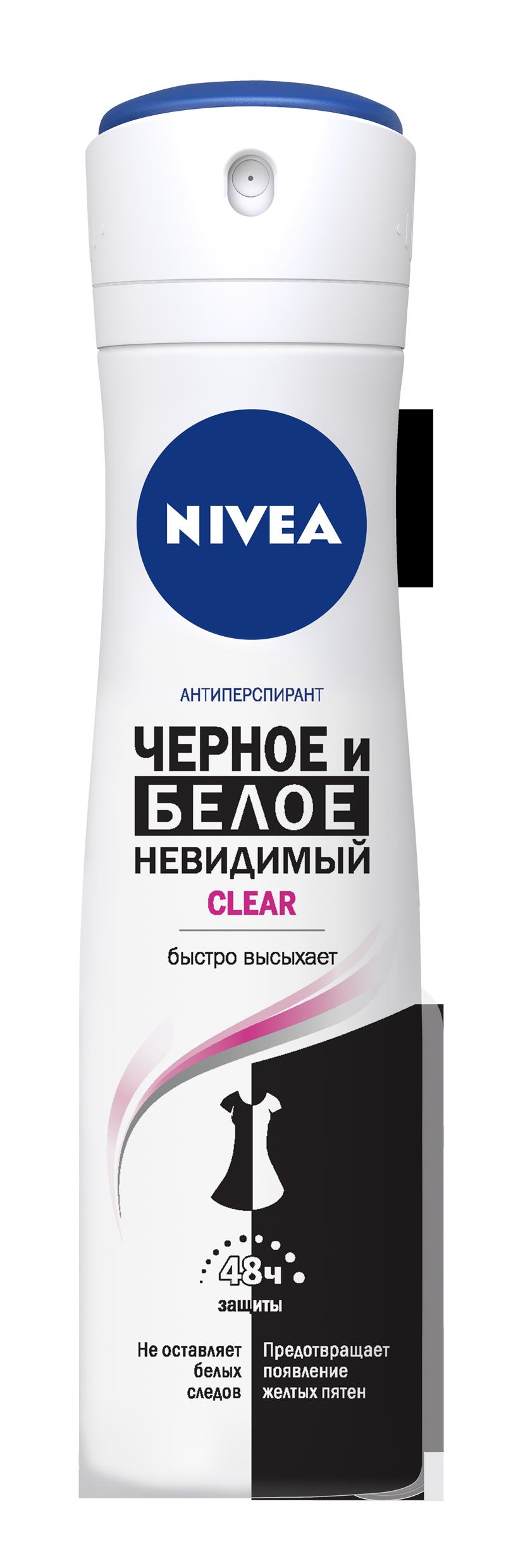 Купить Антиперспирант Nivea Спрей женский Невидимая защита для черного и белого Клер 150мл, невидимая защита для черного и белого 150 мл