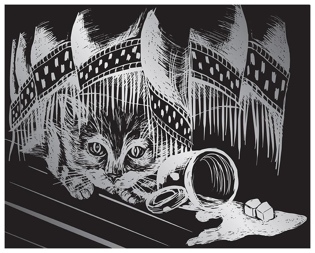 Гравюра Hobbius Озорной котенок GHK-11 20x25,5 см