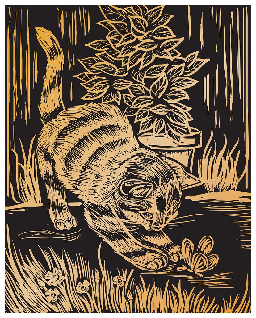 Гравюра Hobbius Игривый котенок GHK-15 25,5x20 см