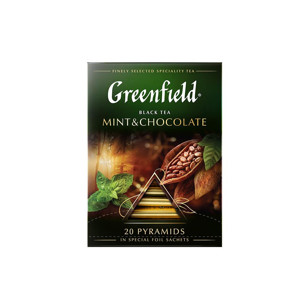 Чай черный в пирамидках Greenfield Mint & Chocolate 20 пакетиков фото