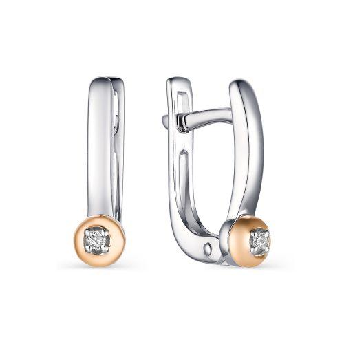 Серьги женские из серебра АЛЬКОР 02-1601/000Б-00 бриллиант