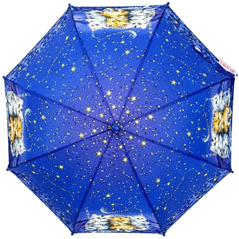 Детский зонт-трость Diniya с цветной ручкой, три котенка и звездопад ярко-синий UM0004B