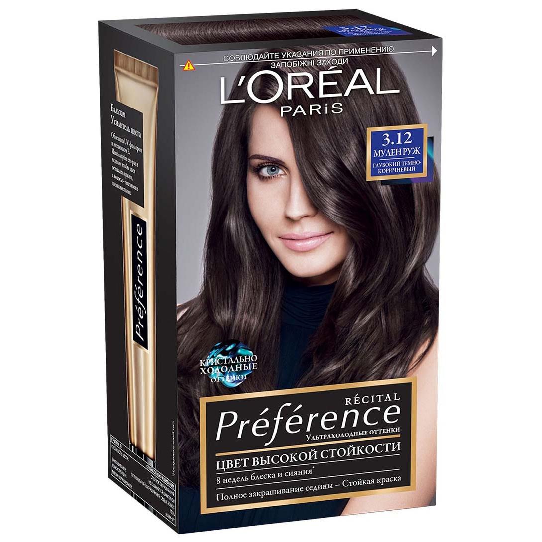 Краска для волос LOreal Paris оттенок 3.12 Мулен Руж, Глубокий темно-коричневый