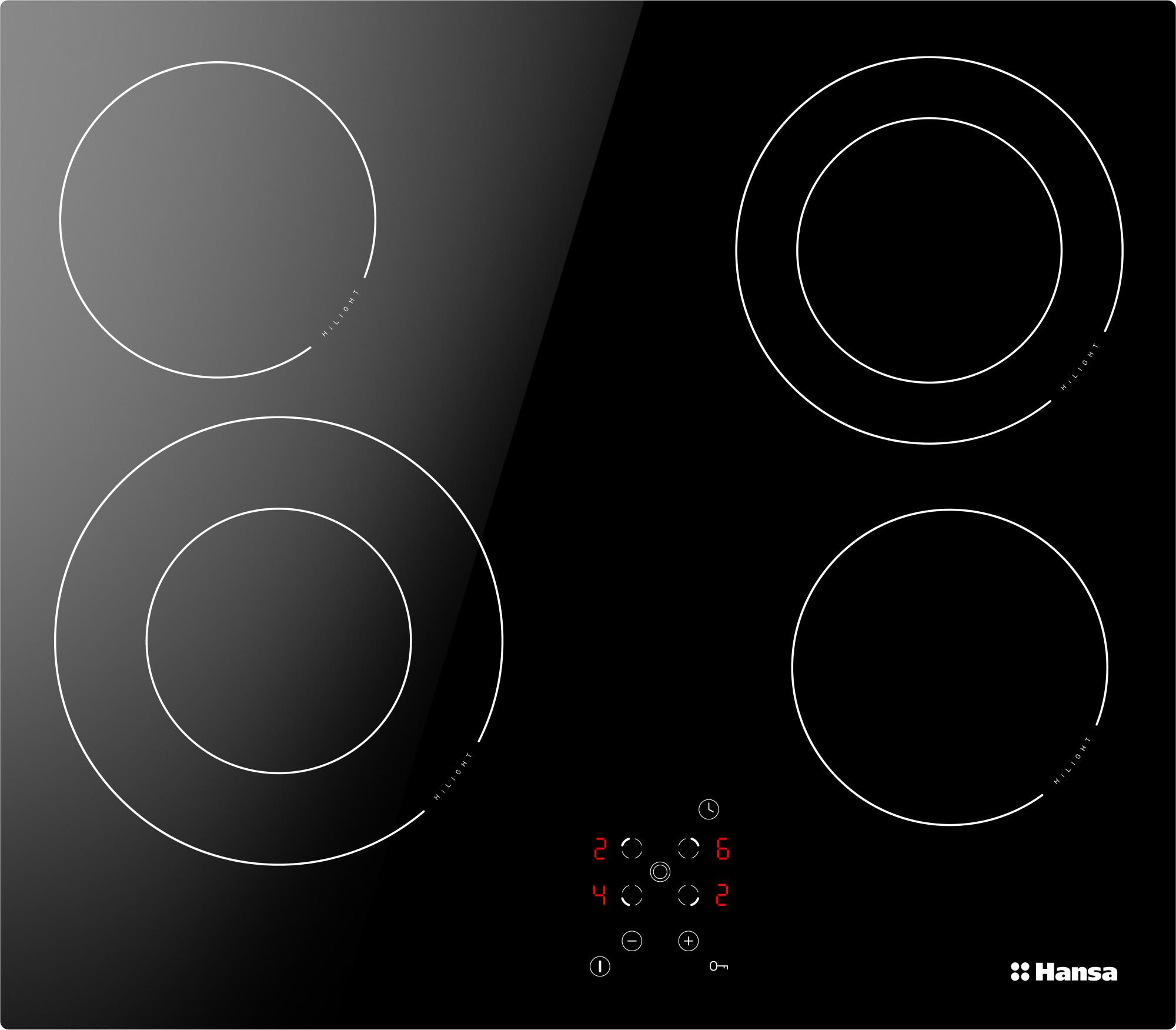 Встраиваемая варочная панель электрическая Hansa BHC96506 Black Hi-Light BHC96506 по цене 17 990