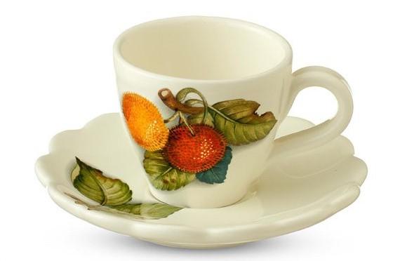 Чашка с блюдцем Nuova Cer Итальянские фрукты 34086 Бежевый