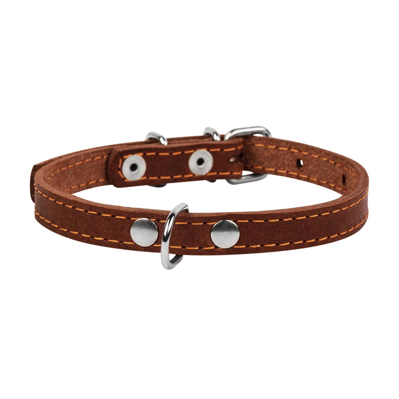Ошейник для собак Collar одинарный, кожаный, коричневый,