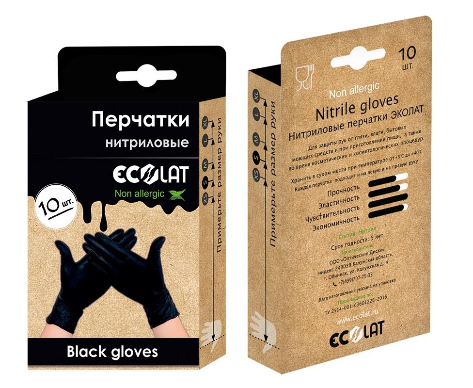 Перчатки медицинские черные EcoLat, размер M,
