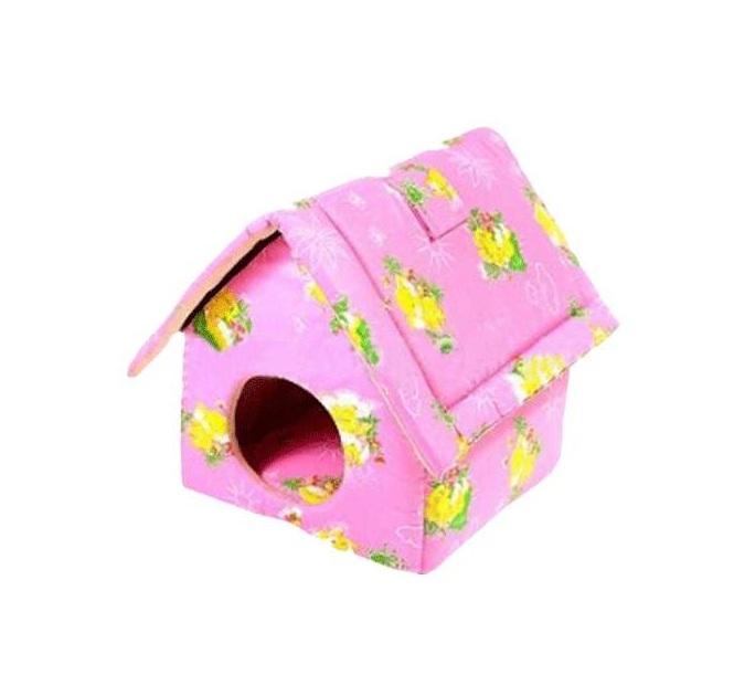 Домик для кошек и собак Паладинка Паладинка с Китайской крышей, розовый, 45x38x41см фото