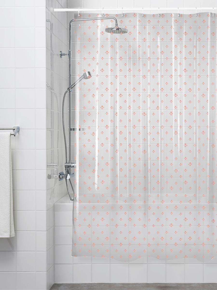 Шторка для ванной ПЕВА 180x200 см, розовый