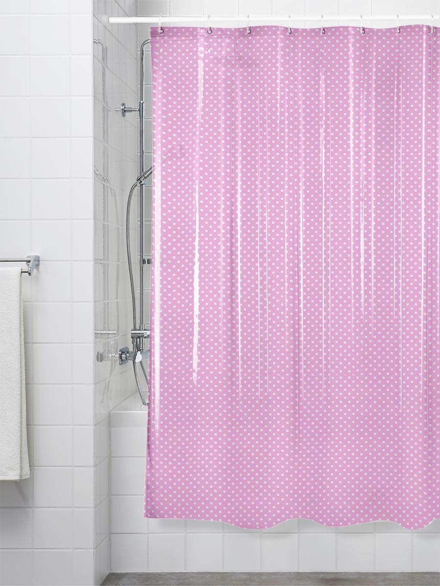 Шторка для ванной 180x200 см, розовый