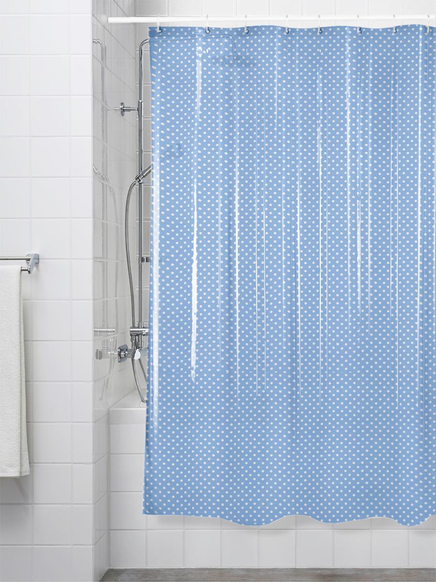 Шторка для ванной 180x200 см, голубой
