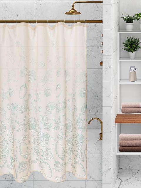 Шторка для ванной РАКУШКИ 180x200 см, молочный/бирюзовый