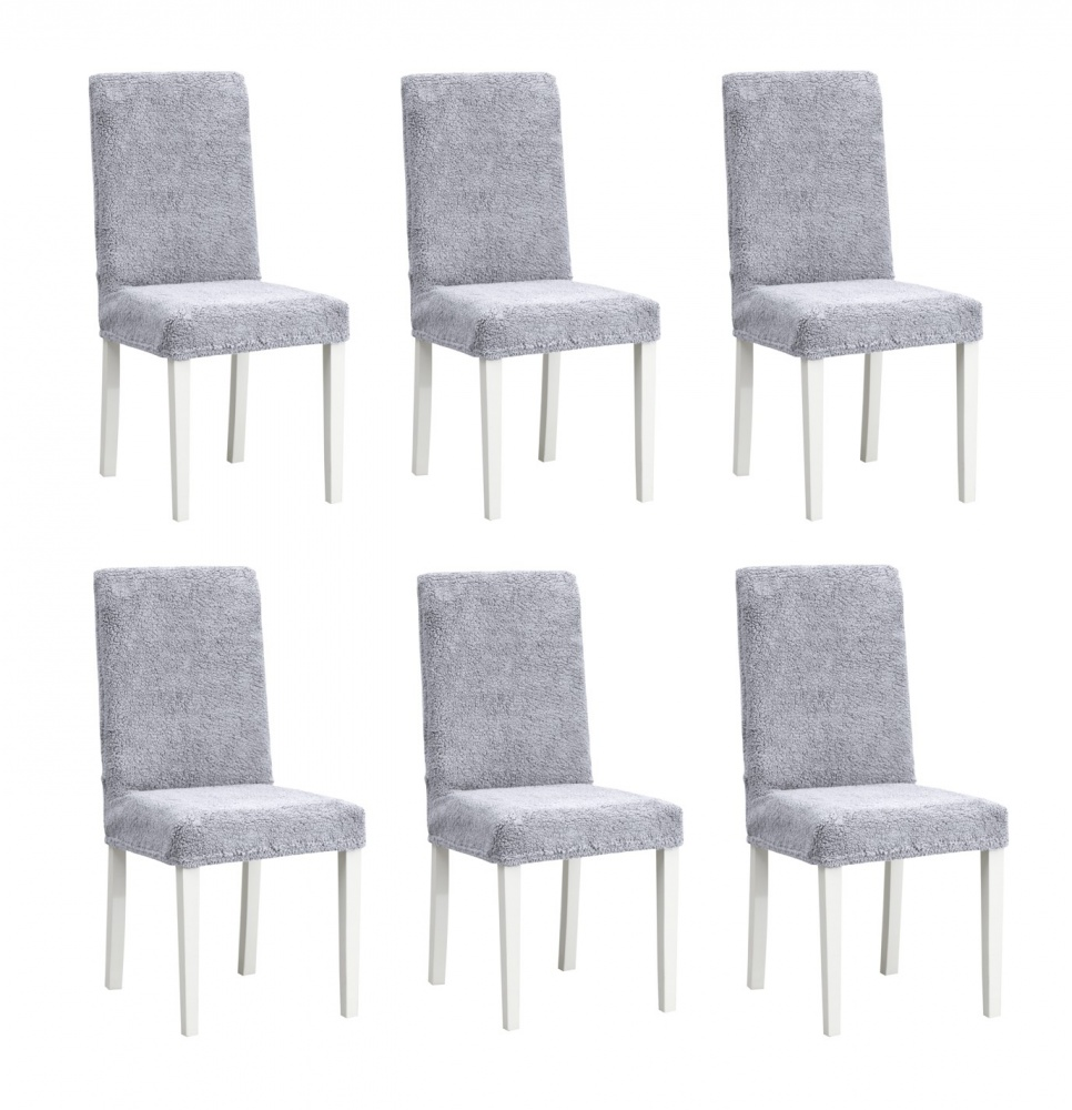 Чехлы на стулья плюшевые Venera, цвет серый,