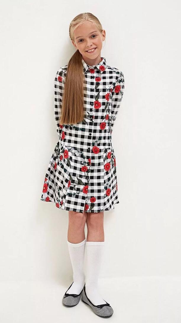 Платье-рубашка в клетку с цветочным рисунком Acoola 20210200260, р. 134