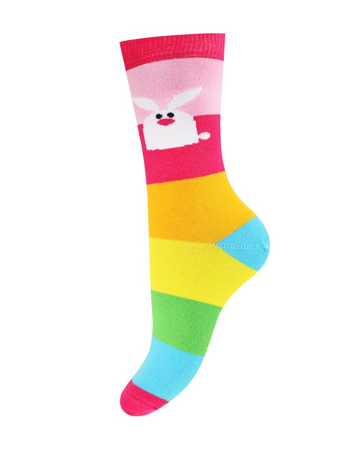 Носки женские Mademoiselle 24_Зайцы полоска разноцветные 24