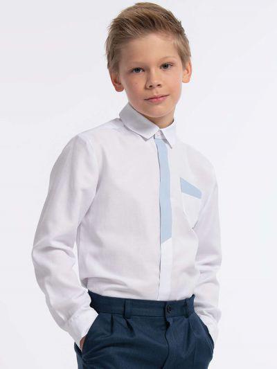 Купить 10443, Рубашка для мальчиков Смена цв. белый р.134-64, SMENA,