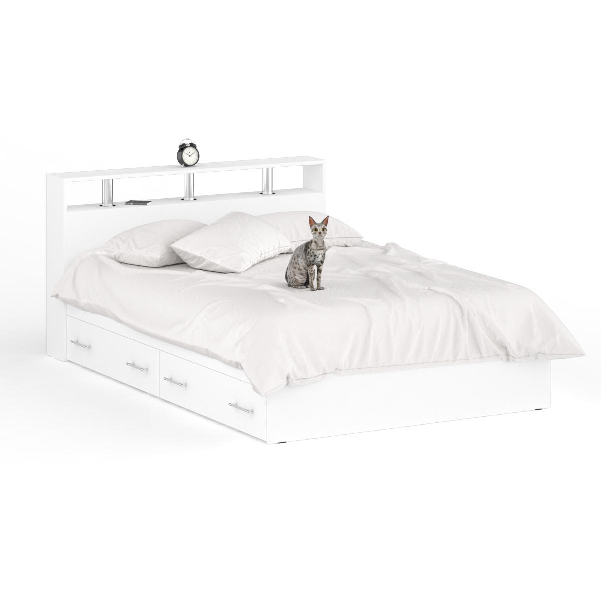 Кровать с ящиками Камелия 1400я+Осн белый, 144х204х88