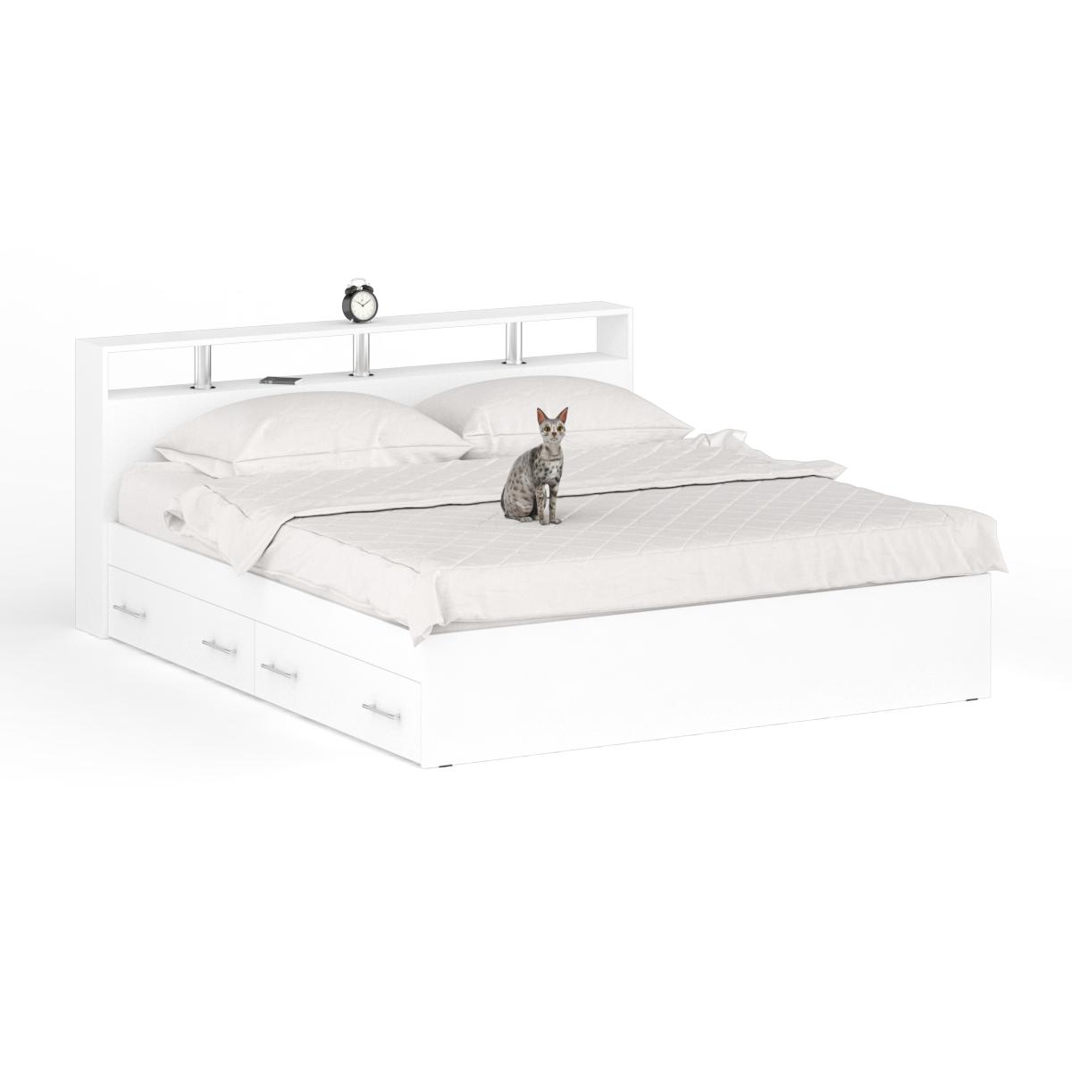 Кровать с ящиками Камелия 1800я+Осн белый, 184х204х88
