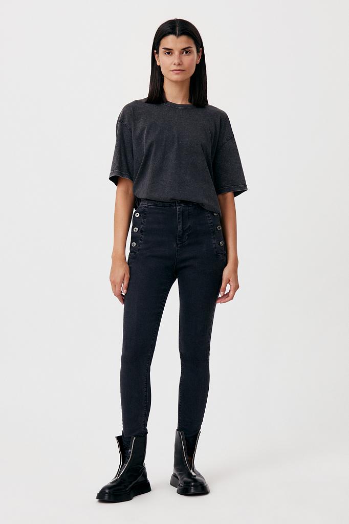 Брюки женские (джинсы) Finn Flare FAB15010 черный W26L32