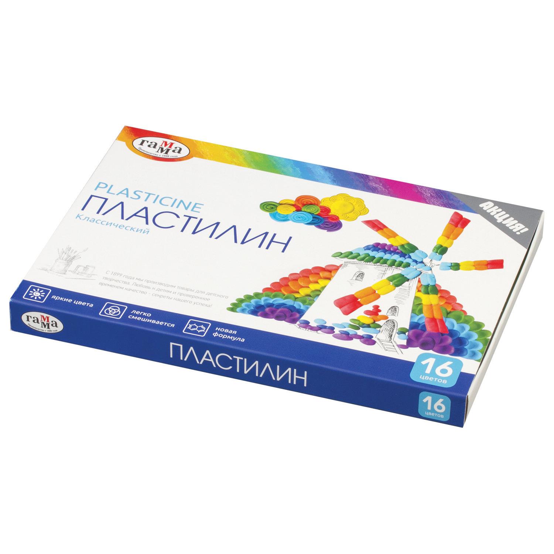 Пластилин Гамма Классический со стеком, 16 цветов,
