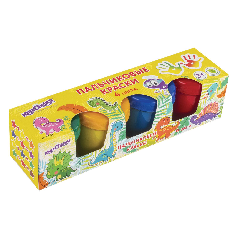Краски пальчиковые Юнландия Динозаврики, 4 цвета