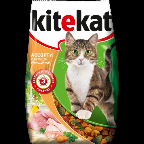 Миниатюра Сухой корм для кошек KiteKat, ассорти с курицей и индейкой, 1,9кг №1